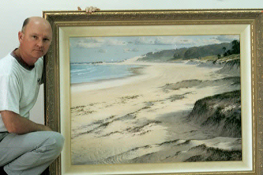 "Les with a painting of ""THE DUNES""."